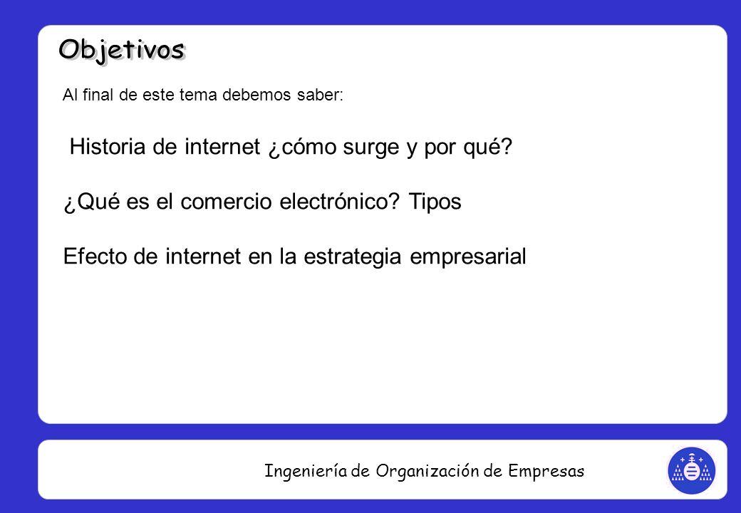 Ingeniería de Organización de Empresas Al final de este tema debemos saber: Historia de internet ¿cómo surge y por qué? ¿Qué es el comercio electrónic