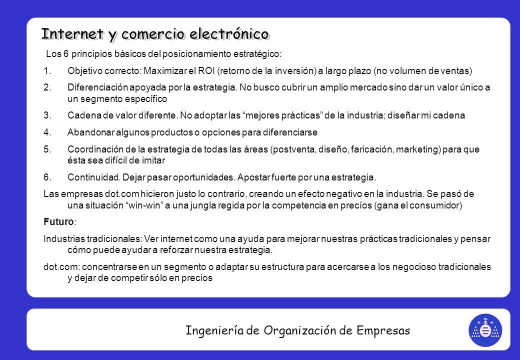 Ingeniería de Organización de Empresas Los 6 principios básicos del posicionamiento estratégico: 1.Objetivo correcto: Maximizar el ROI (retorno de la