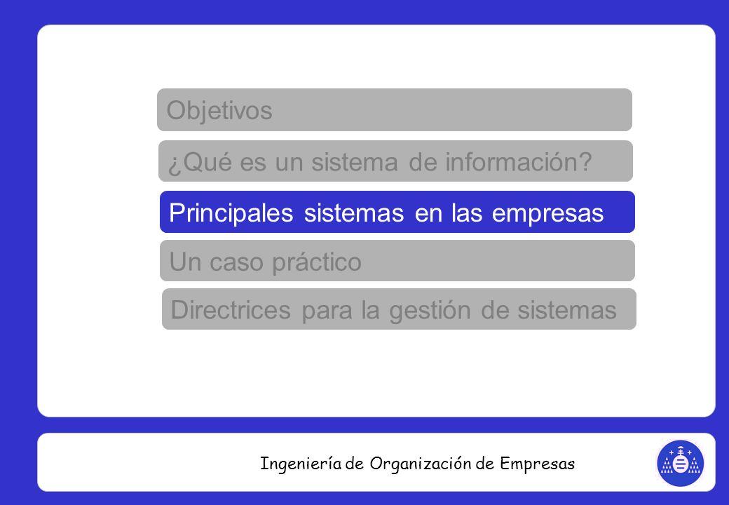 Ingeniería de Organización de Empresas Imaginemos una empresa que diseña un nuevo producto y veamos todo el ciclo de vida de ese producto ¿quién participa y qué sistemas informáticos utilizará para hacer más fácil su labor.