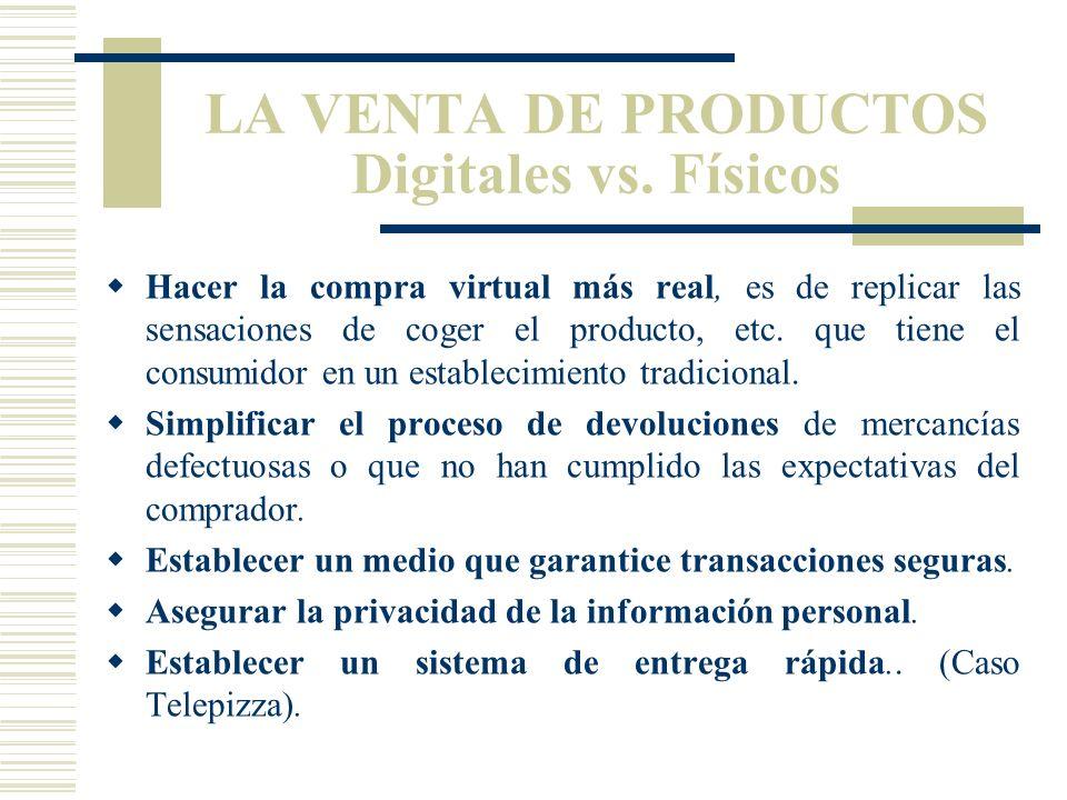 LA VENTA DE PRODUCTOS Digitales vs. Físicos Internet también puede ser usada para vender productos físicos. En las tiendas virtuales, las góndolas y e