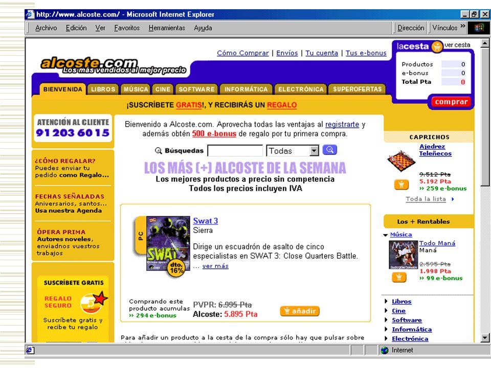 DISEÑO DE LA TIENDA El Merchandising Virtual Las Tiendas Virtuales son un conjunto de páginas Web, que se generan a partir de una base de datos, un co