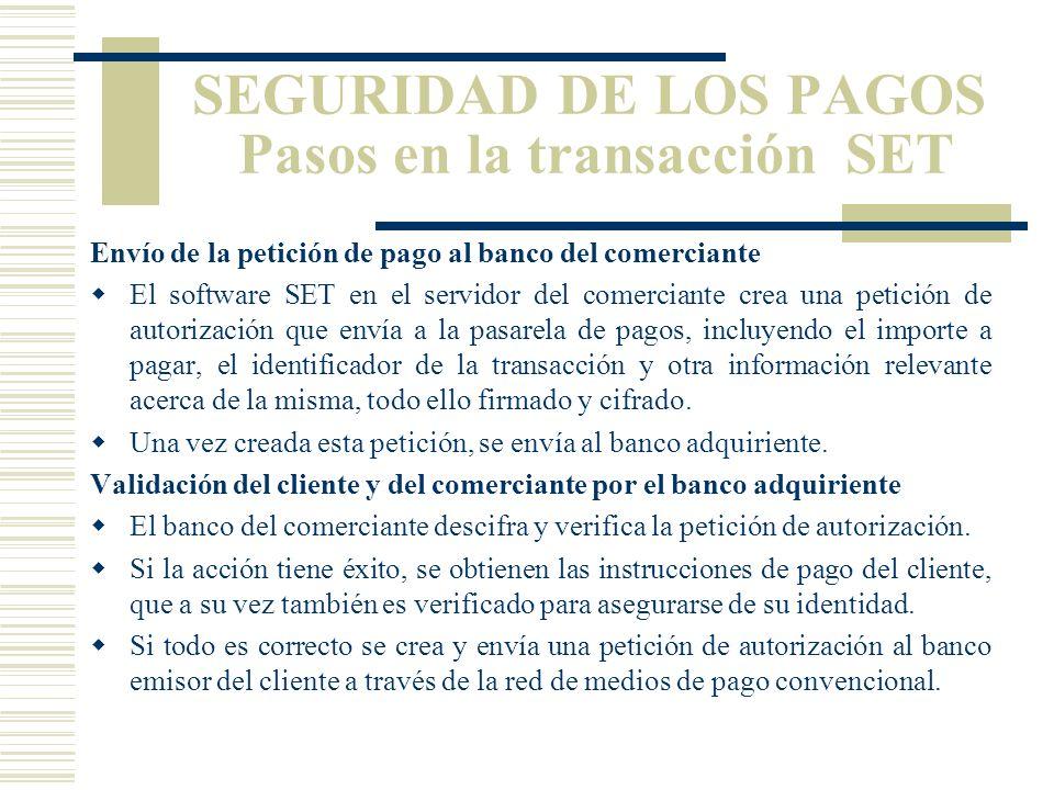 SEGURIDAD DE LOS PAGOS Pasos en la transacción SET Compra El cliente decide comprar un artículo a través de Internet. Rellena un formulario y apreta u