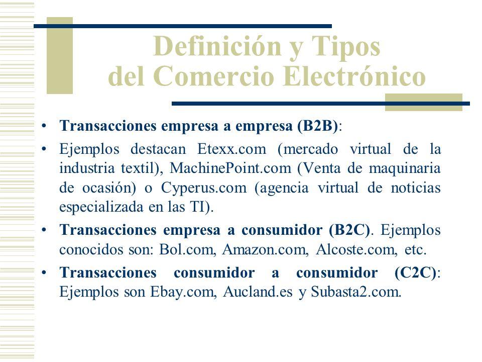 Definición y Tipos del Comercio Electrónico Transacciones empresa a empresa (B2B): Ejemplos destacan Etexx.com (mercado virtual de la industria textil), MachinePoint.com (Venta de maquinaria de ocasión) o Cyperus.com (agencia virtual de noticias especializada en las TI).