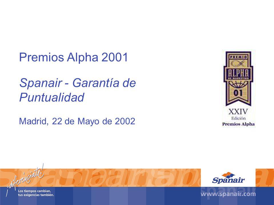 Premios Alpha 2001 Spanair - Garantía de Puntualidad Madrid, 22 de Mayo de 2002