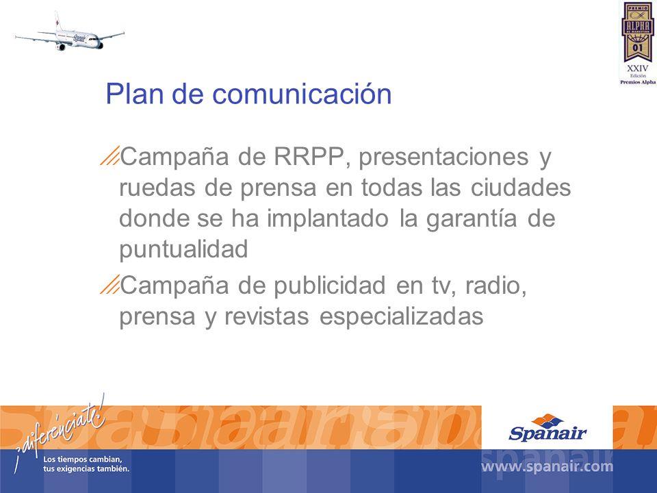 Plan de comunicación Campaña de RRPP, presentaciones y ruedas de prensa en todas las ciudades donde se ha implantado la garantía de puntualidad Campañ