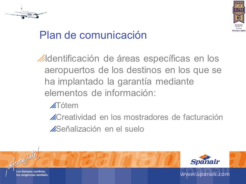 Plan de comunicación Identificación de áreas específicas en los aeropuertos de los destinos en los que se ha implantado la garantía mediante elementos