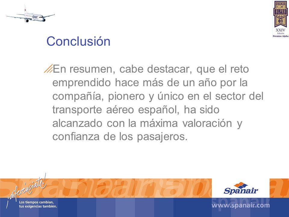 Conclusión En resumen, cabe destacar, que el reto emprendido hace más de un año por la compañía, pionero y único en el sector del transporte aéreo esp