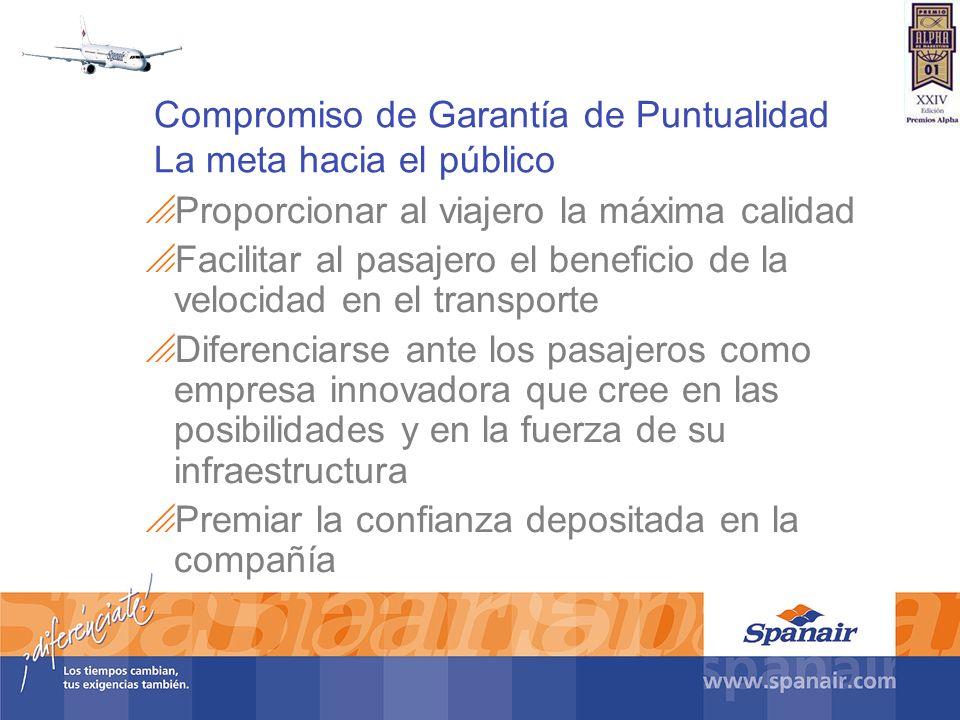 Compromiso de Garantía de Puntualidad La meta hacia el público Proporcionar al viajero la máxima calidad Facilitar al pasajero el beneficio de la velo