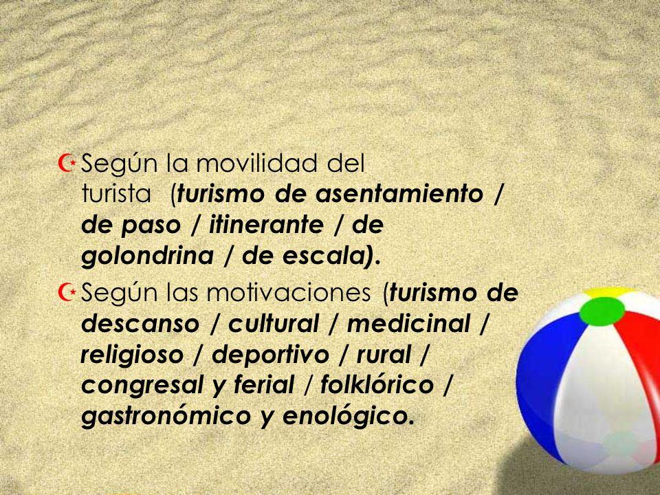 ZSegún la movilidad del turista ( turismo de asentamiento / de paso / itinerante / de golondrina / de escala). ZSegún las motivaciones ( turismo de de