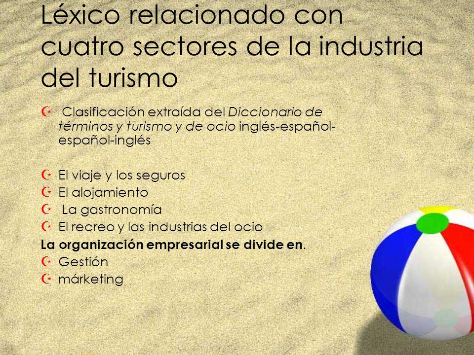 Léxico relacionado con cuatro sectores de la industria del turismo Z Clasificación extraída del Diccionario de términos y turismo y de ocio inglés-esp