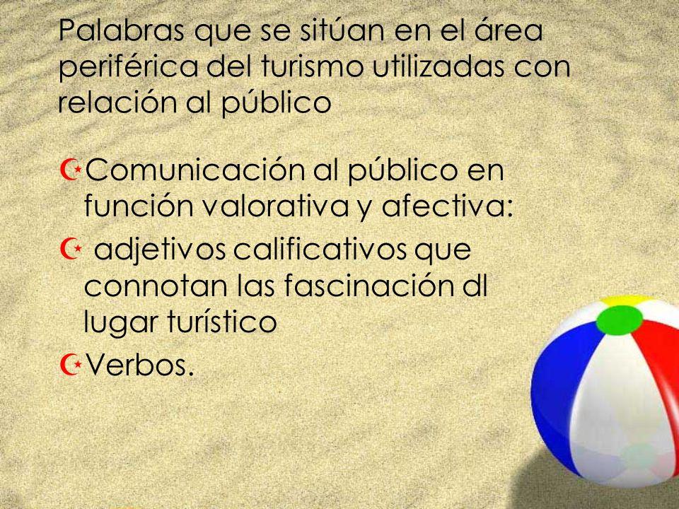 Palabras que se sitúan en el área periférica del turismo utilizadas con relación al público ZComunicación al público en función valorativa y afectiva: