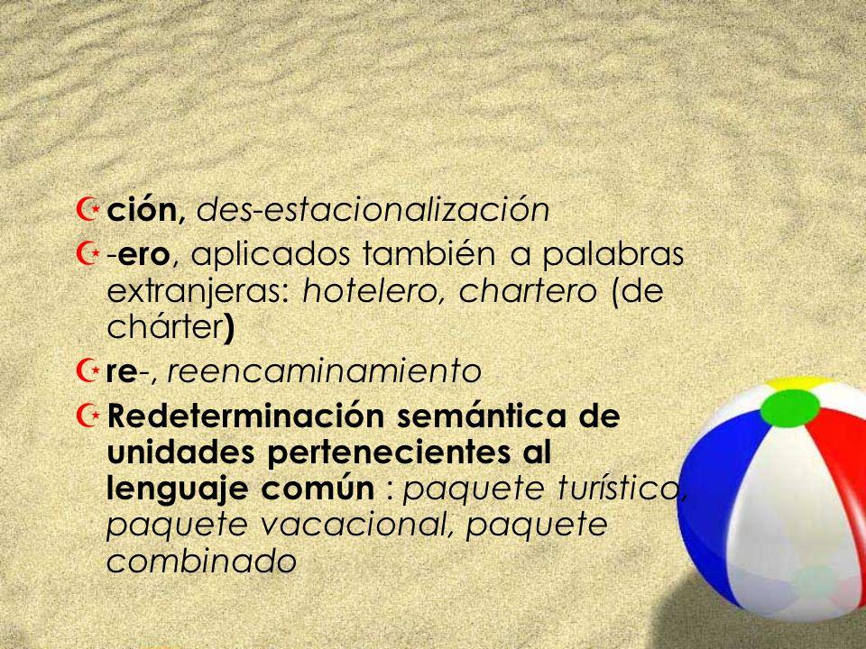 Z ción, des-estacionalización Z- ero, aplicados también a palabras extranjeras: hotelero, chartero (de chárter ) Z re -, reencaminamiento Z Redetermin