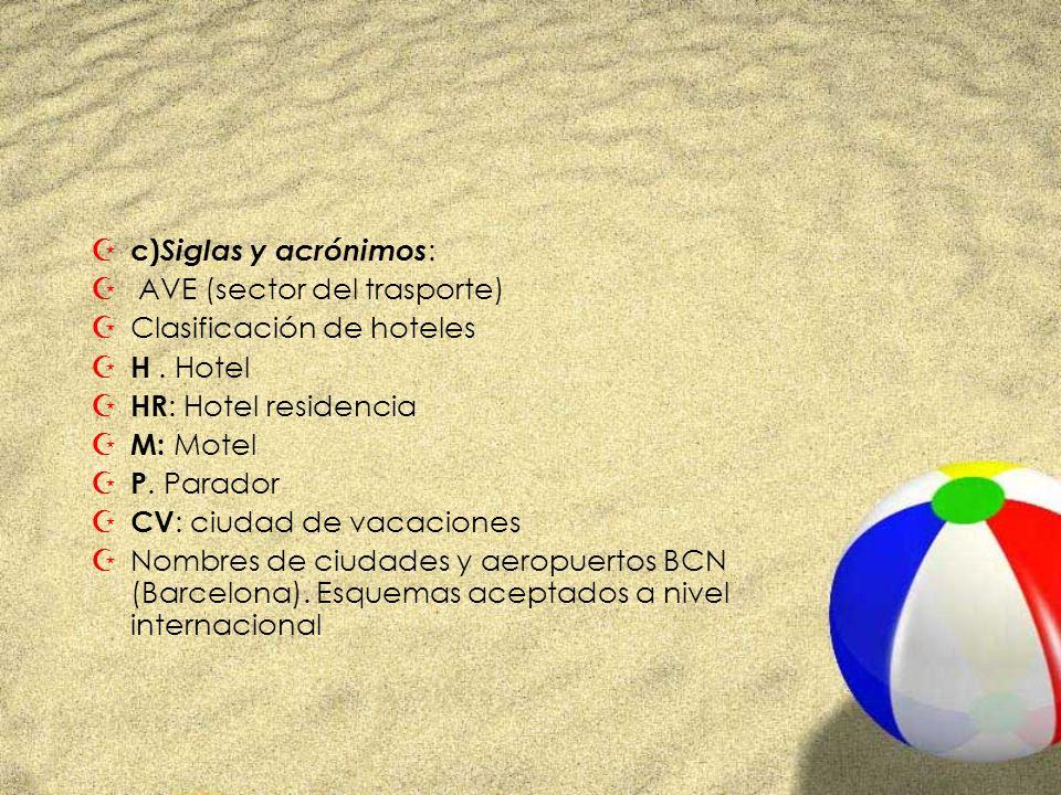 Z c) Siglas y acrónimos : Z AVE (sector del trasporte) ZClasificación de hoteles Z H. Hotel Z HR : Hotel residencia Z M: Motel Z P. Parador Z CV : ciu