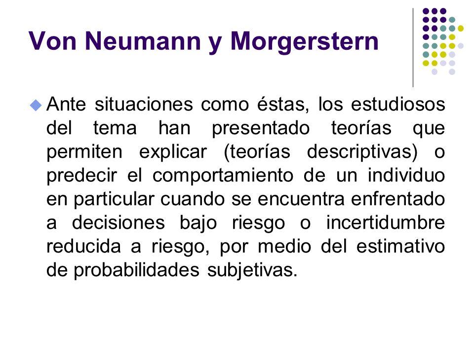 Von Neumann y Morgerstern u Ante situaciones como éstas, los estudiosos del tema han presentado teorías que permiten explicar (teorías descriptivas) o