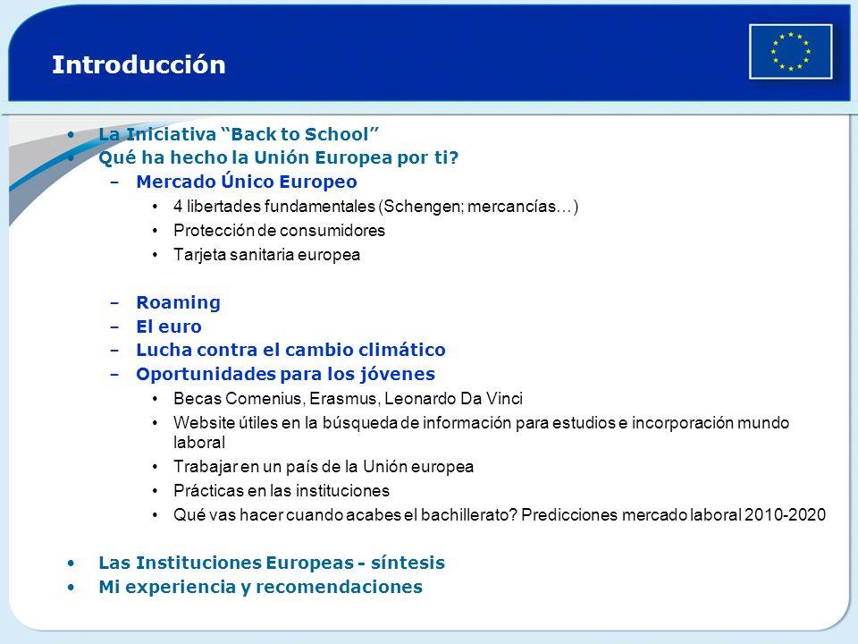 Introducción La Iniciativa Back to School Qué ha hecho la Unión Europea por ti.