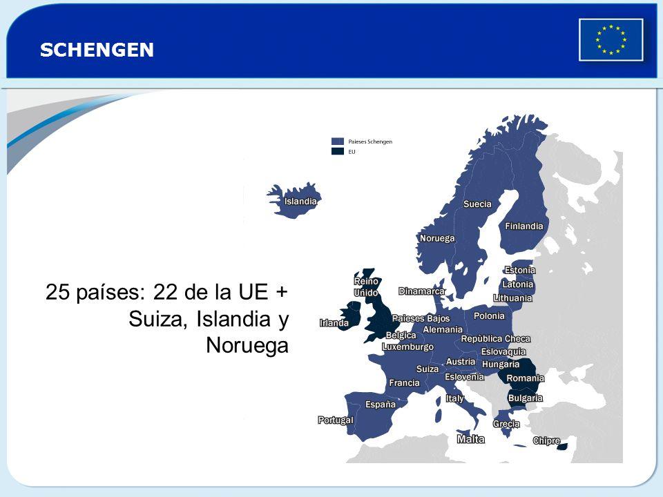 SCHENGEN 25 países: 22 de la UE + Suiza, Islandia y Noruega