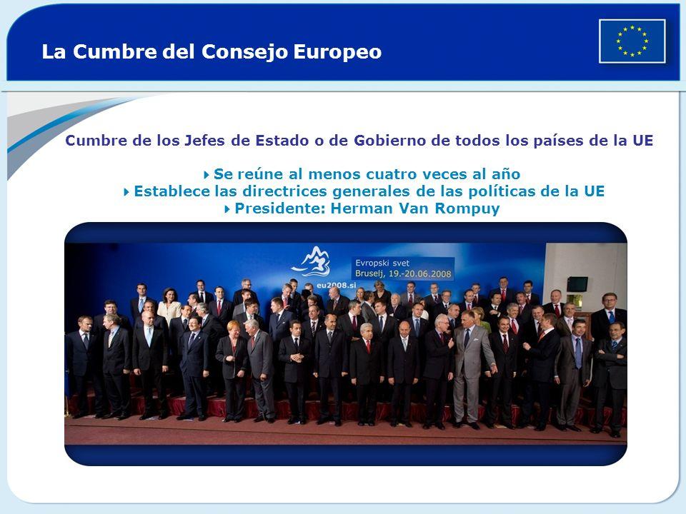 La Cumbre del Consejo Europeo Cumbre de los Jefes de Estado o de Gobierno de todos los países de la UE Se reúne al menos cuatro veces al año Establece las directrices generales de las políticas de la UE Presidente: Herman Van Rompuy