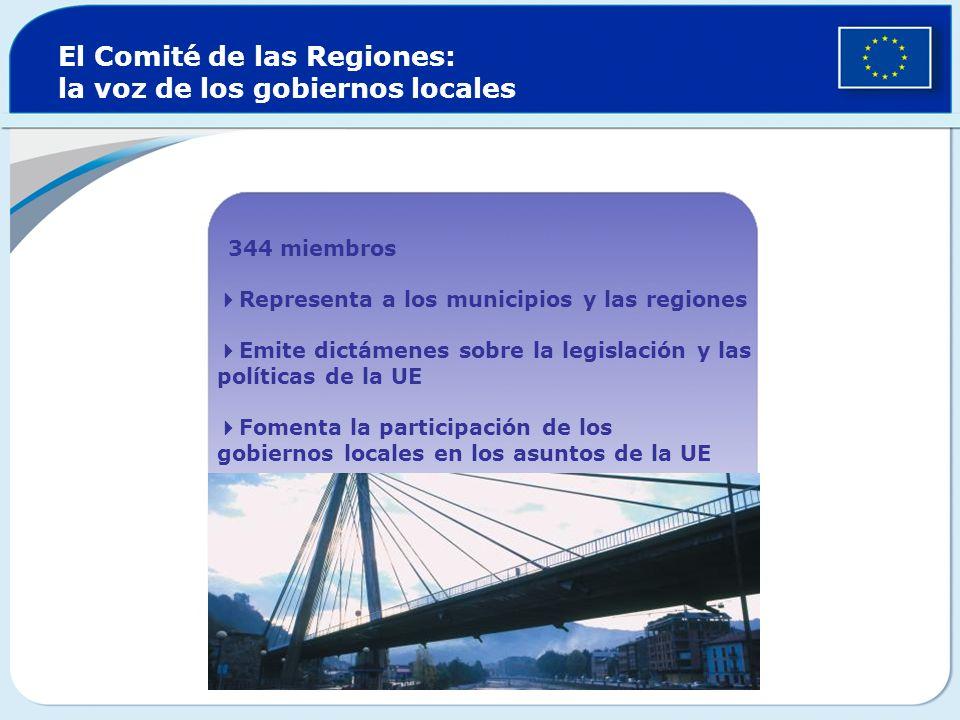 El Comité de las Regiones: la voz de los gobiernos locales 344 miembros Representa a los municipios y las regiones Emite dictámenes sobre la legislación y las políticas de la UE Fomenta la participación de los gobiernos locales en los asuntos de la UE