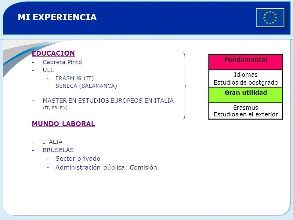 MI EXPERIENCIA EDUCACION -Cabrera Pinto -ULL -ERASMUS (IT) -SENECA (SALAMANCA) -MASTER EN ESTUDIOS EUROPEOS EN ITALIA (IT, FR, EN) MUNDO LABORAL -ITALIA -BRUSELAS -Sector privado -Administración pública: Comisión Fundamental Idiomas Estudios de postgrado Gran utilidad Erasmus Estudios en el exterior