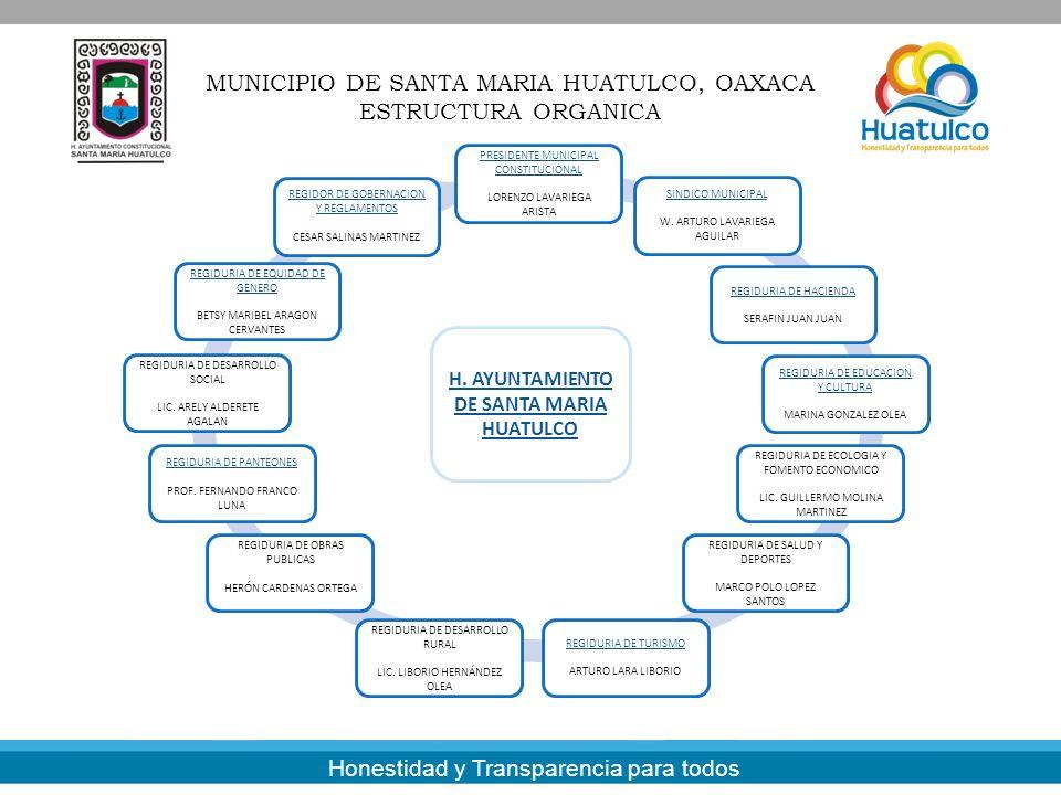 MUNICIPIO DE SANTA MARIA HUATULCO, OAXACA ESTRUCTURA ORGANICA Honestidad y Transparencia para todos PRESIDENTE MUNICIPAL CONSTITUCIONAL LORENZO LAVARI