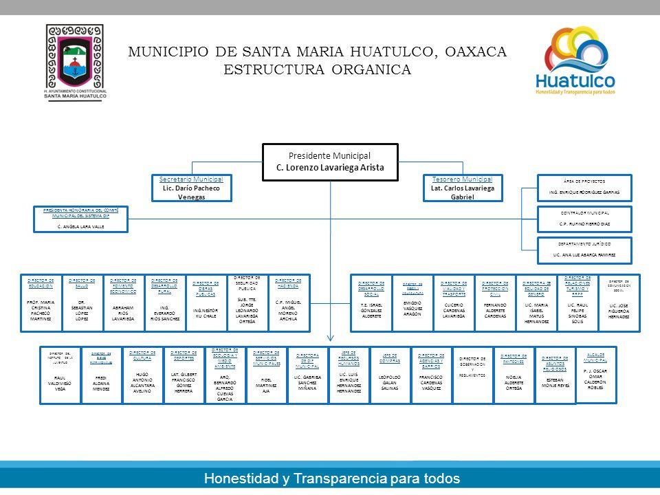 Presidente Municipal C. Lorenzo Lavariega Arista MUNICIPIO DE SANTA MARIA HUATULCO, OAXACA ESTRUCTURA ORGANICA DIRECTOR DE EDUCACION PROF. MARIA CRIST