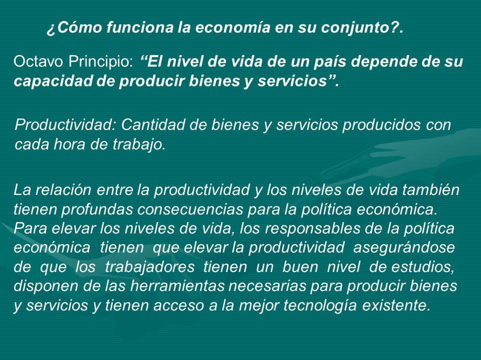 ¿Cómo funciona la economía en su conjunto?. Octavo Principio: El nivel de vida de un país depende de su capacidad de producir bienes y servicios. Prod