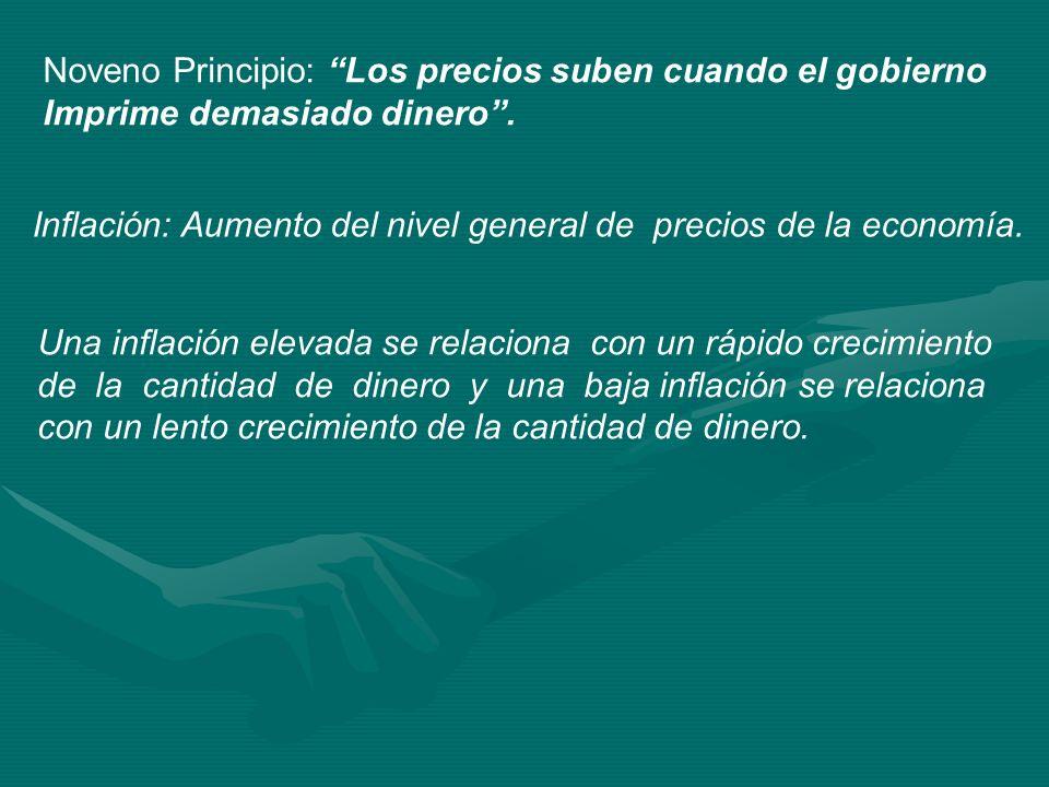 Noveno Principio: Los precios suben cuando el gobierno Imprime demasiado dinero. Inflación: Aumento del nivel general de precios de la economía. Una i