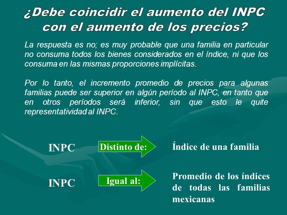 La respuesta es no; es muy probable que una familia en particular no consuma todos los bienes considerados en el índice, ni que los consuma en las mis