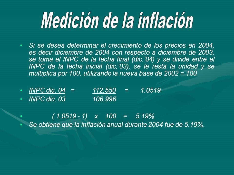 Si se desea determinar el crecimiento de los precios en 2004, es decir diciembre de 2004 con respecto a diciembre de 2003, se toma el INPC de la fecha