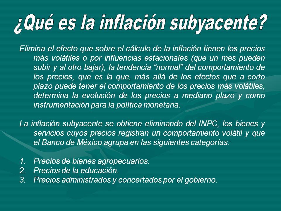 Elimina el efecto que sobre el cálculo de la inflación tienen los precios más volátiles o por influencias estacionales (que un mes pueden subir y al o