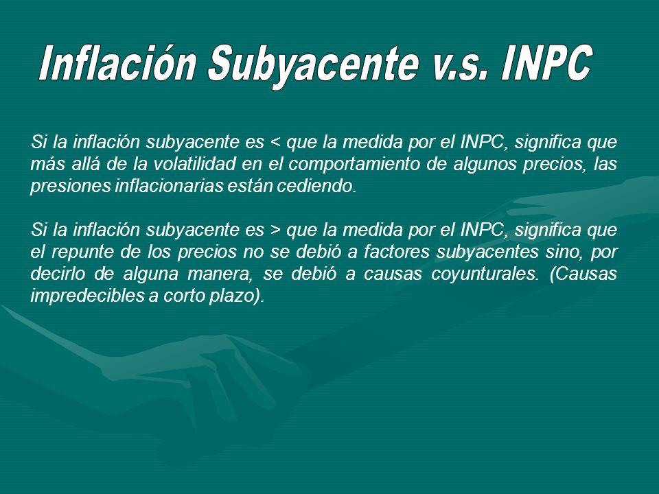 Si la inflación subyacente es < que la medida por el INPC, significa que más allá de la volatilidad en el comportamiento de algunos precios, las presi