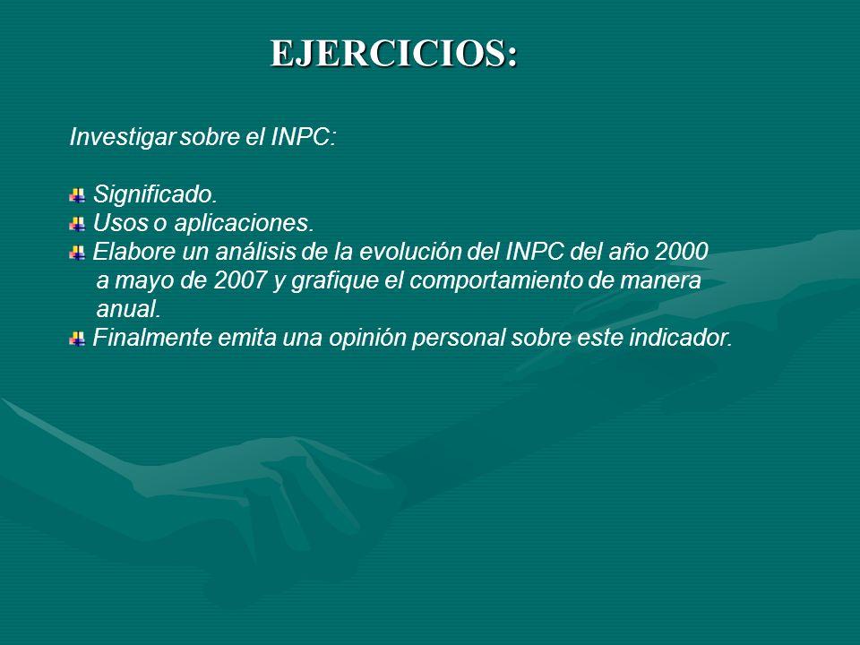 EJERCICIOS: Investigar sobre el INPC: Significado. Usos o aplicaciones. Elabore un análisis de la evolución del INPC del año 2000 a mayo de 2007 y gra