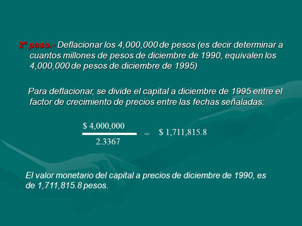 2º paso.- Deflacionar los 4,000,000 de pesos (es decir determinar a cuantos millones de pesos de diciembre de 1990, equivalen los 4,000,000 de pesos d