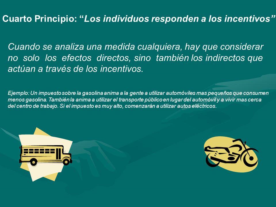 Cuarto Principio: Los individuos responden a los incentivos Cuando se analiza una medida cualquiera, hay que considerar no solo los efectos directos,