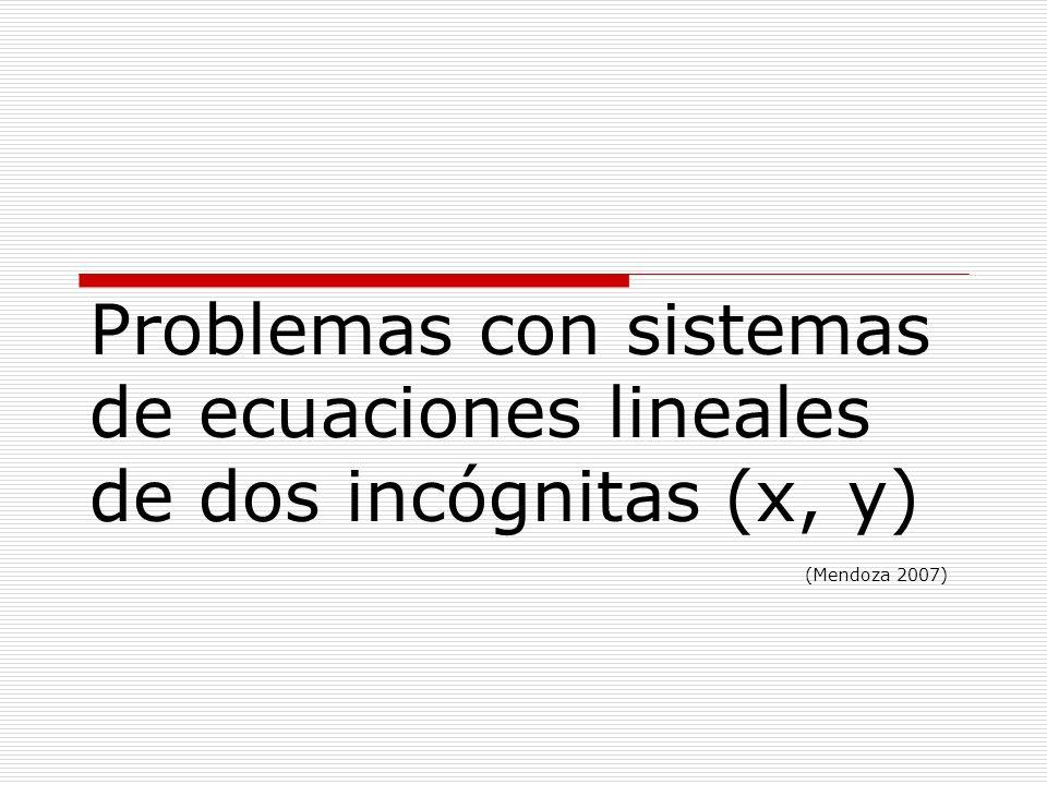 Etapas a desarrollar en cada problema: 1.- Definición de variables (x,y) 2.- Sistema de ecuaciones (modelo matemático) 3.- Solución, por cualquier método algebraico 4.- Análisis de resultados.