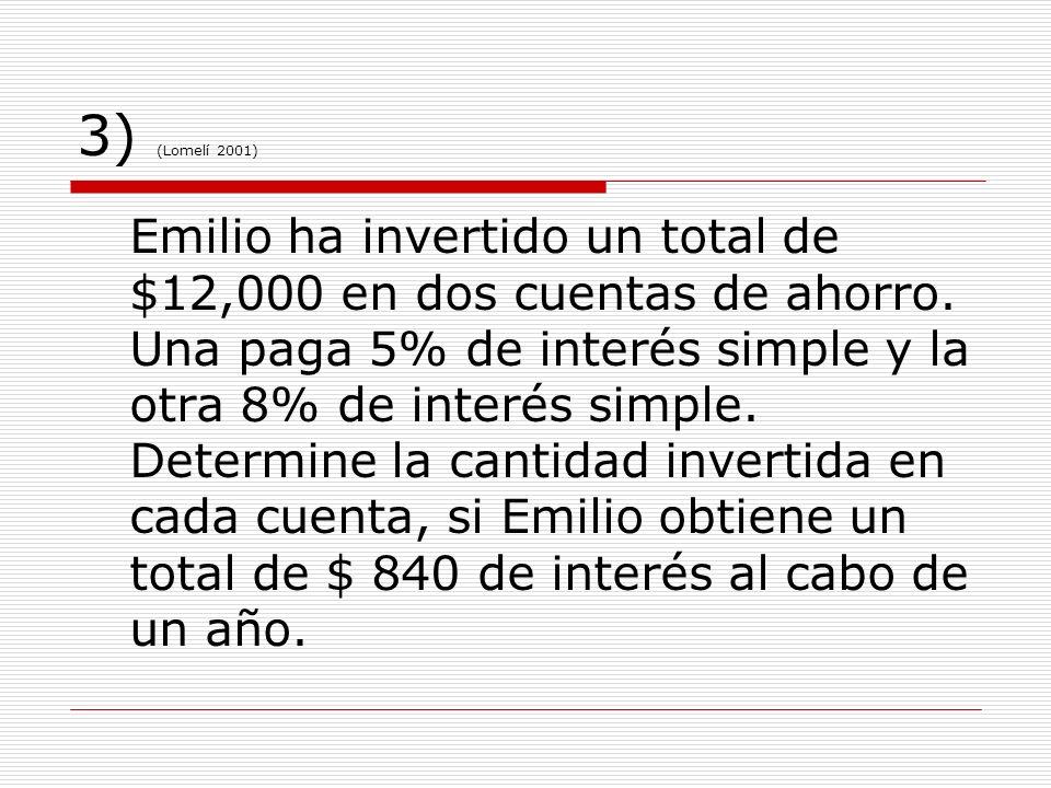 3) (Lomelí 2001) Emilio ha invertido un total de $12,000 en dos cuentas de ahorro. Una paga 5% de interés simple y la otra 8% de interés simple. Deter