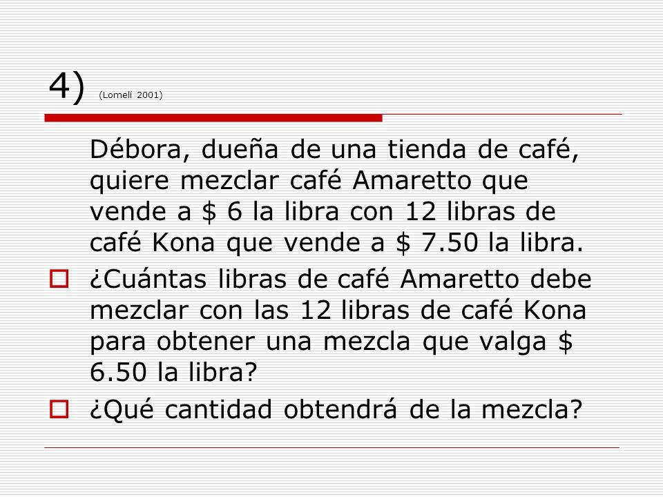 4) (Lomelí 2001) Débora, dueña de una tienda de café, quiere mezclar café Amaretto que vende a $ 6 la libra con 12 libras de café Kona que vende a $ 7