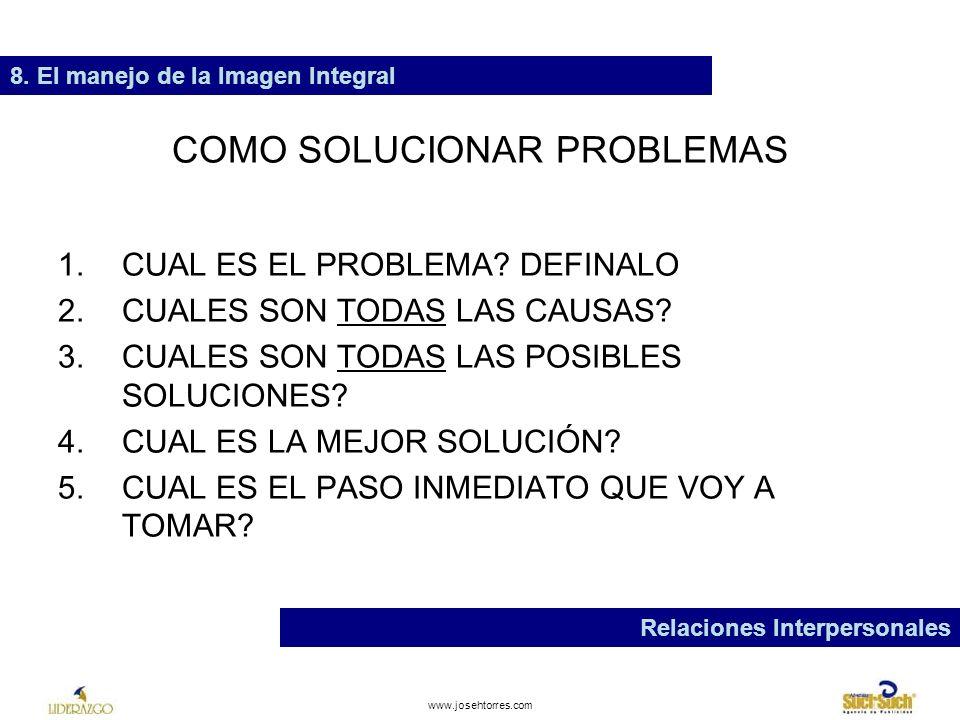 www.josehtorres.com ENTUSIASMO 8. El manejo de la Imagen Integral Relaciones Interpersonales