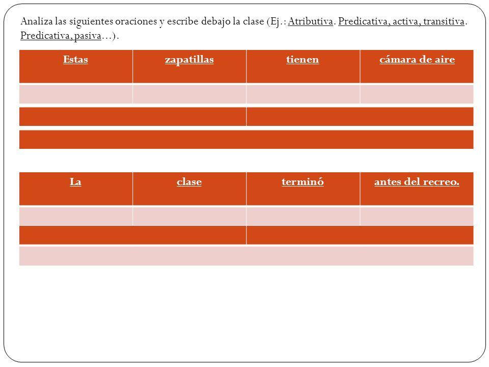 Estas zapatillastienencámara de aire Analiza las siguientes oraciones y escribe debajo la clase (Ej.: Atributiva. Predicativa, activa, transitiva. Pre