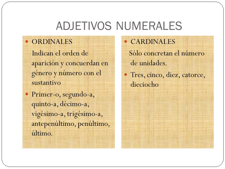 ADJETIVOS NUMERALES ORDINALES Indican el orden de aparición y concuerdan en género y número con el sustantivo Primer-o, segundo-a, quinto-a, décimo-a,