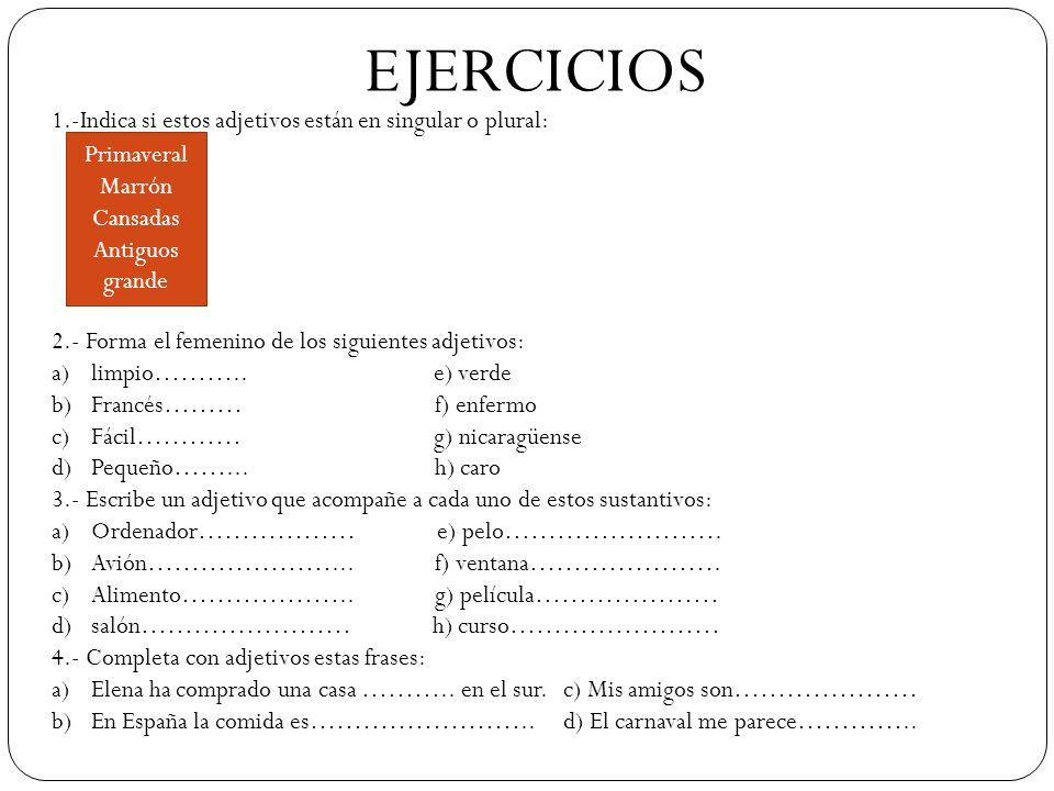 EJERCICIOS 1.-Indica si estos adjetivos están en singular o plural: 2.- Forma el femenino de los siguientes adjetivos: a)limpio……….. e) verde b)Francé