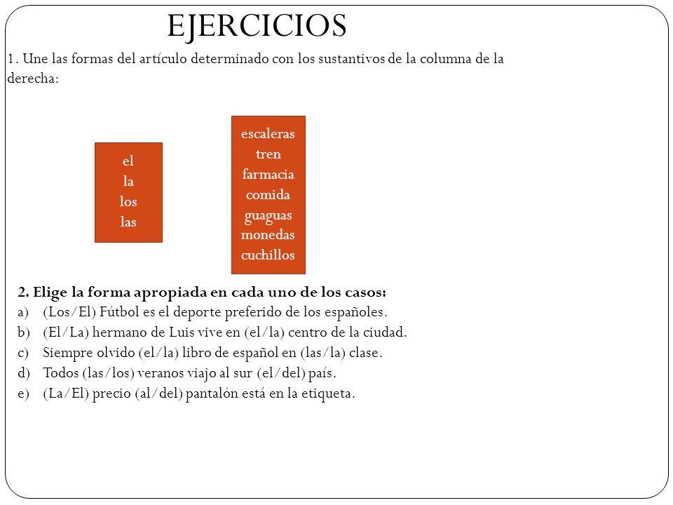 EJERCICIOS 1. Une las formas del artículo determinado con los sustantivos de la columna de la derecha: el la los las escaleras tren farmacia comida gu