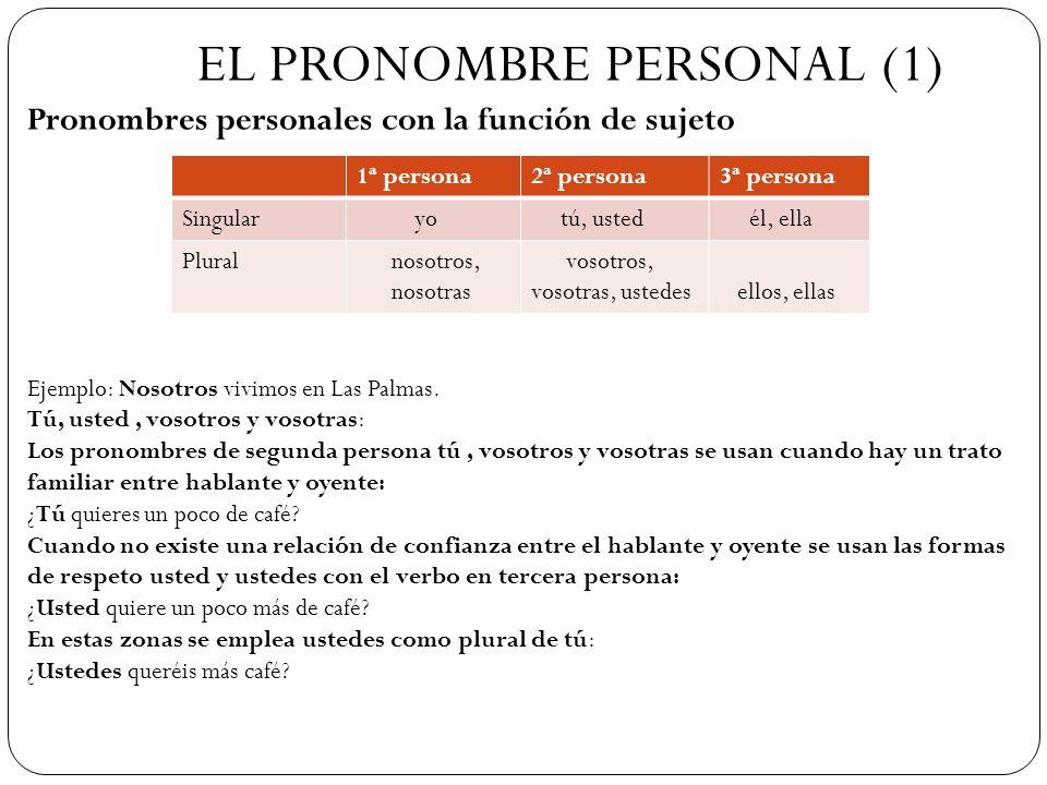 EL PRONOMBRE PERSONAL (1) Pronombres personales con la función de sujeto 1ª persona2ª persona3ª persona Singular yo tú, usted él, ella Plural nosotros