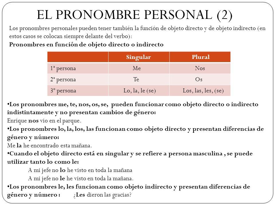 EL PRONOMBRE PERSONAL (2) Los pronombres personales pueden tener también la función de objeto directo y de objeto indirecto (en estos casos se colocan