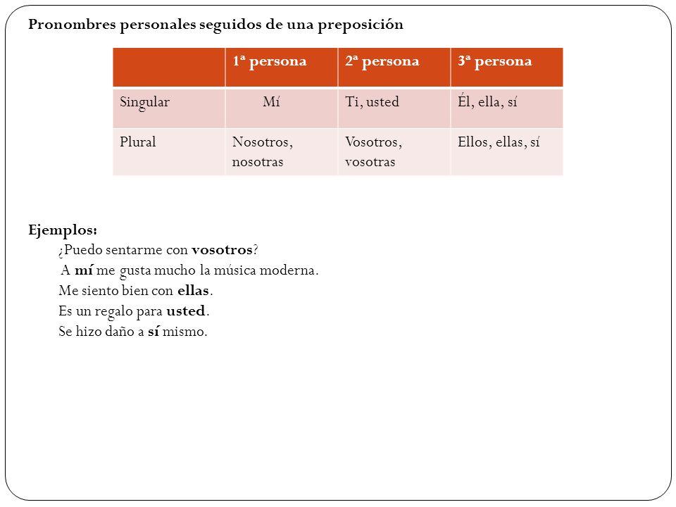 Pronombres personales seguidos de una preposición 1ª persona2ª persona3ª persona Singular MíTi, ustedÉl, ella, sí PluralNosotros, nosotras Vosotros, v
