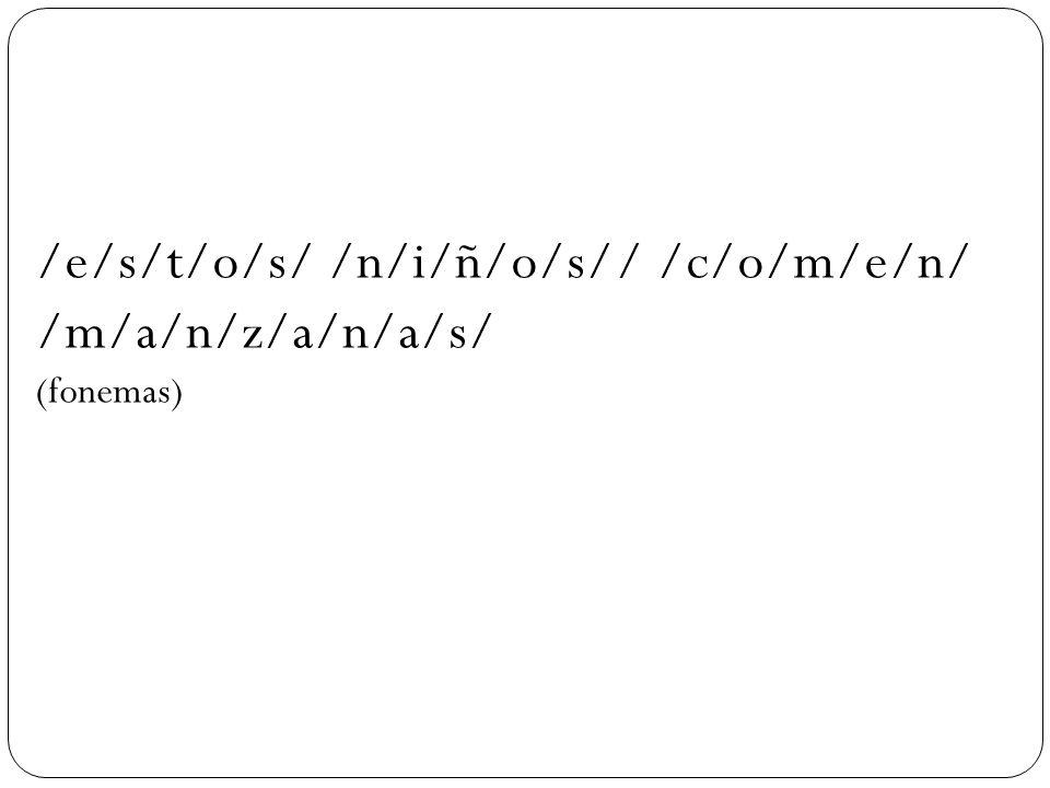 /e/s/t/o/s/ /n/i/ñ/o/s// /c/o/m/e/n/ /m/a/n/z/a/n/a/s/ (fonemas)