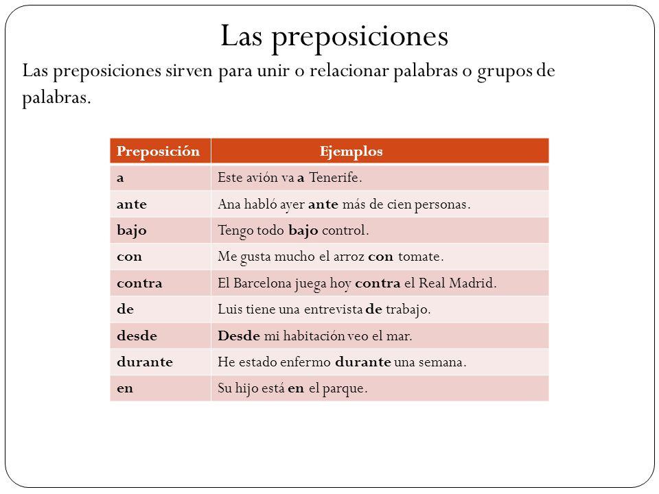 Las preposiciones Las preposiciones sirven para unir o relacionar palabras o grupos de palabras. Preposición Ejemplos aEste avión va a Tenerife. anteA
