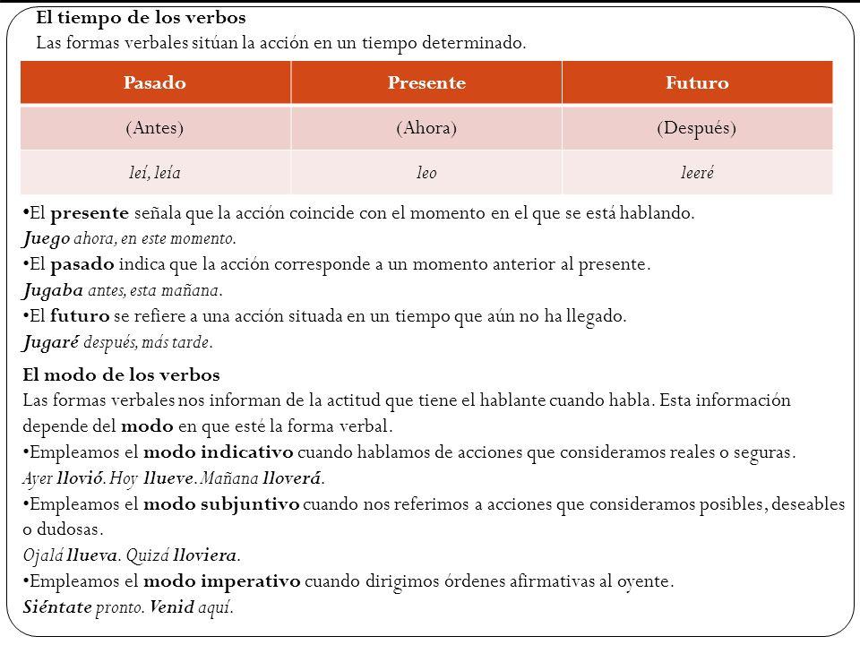 El tiempo de los verbos Las formas verbales sitúan la acción en un tiempo determinado. PasadoPresenteFuturo (Antes)(Ahora)(Después) leí, leíaleoleeré