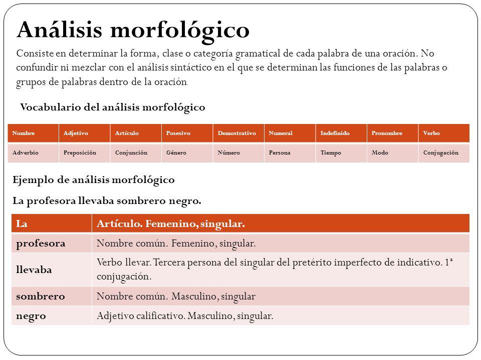 Análisis morfológico Consiste en determinar la forma, clase o categoría gramatical de cada palabra de una oración. No confundir ni mezclar con el anál