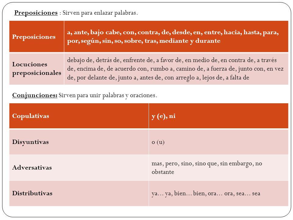 Preposiciones : Sirven para enlazar palabras. Preposiciones a, ante, bajo cabe, con, contra, de, desde, en, entre, hacia, hasta, para, por, según, sin